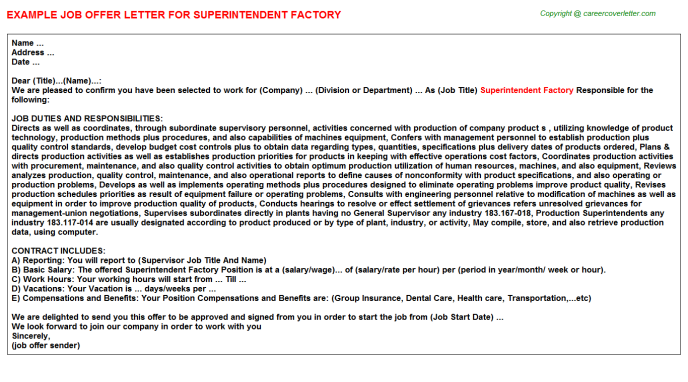 Superintendent Factory Offer Letter Template