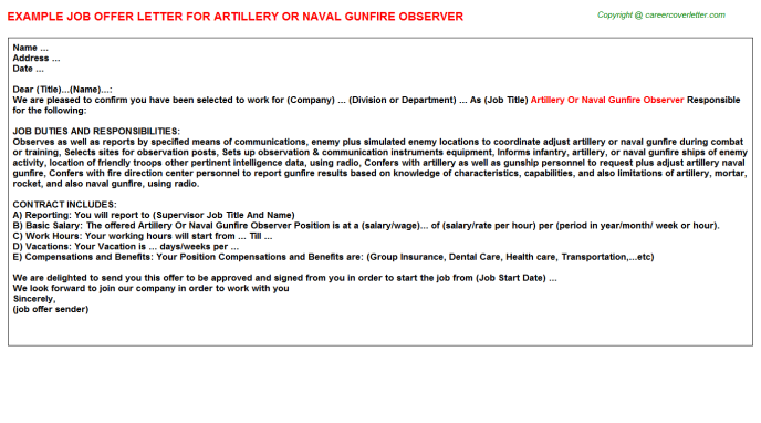 Artillery Or Naval Gunfire Observer Job Offer Letter Template