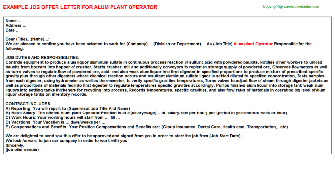 Alum Plant Operator Offer Letter Template