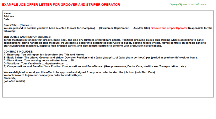 groover and striper operator offer letter template