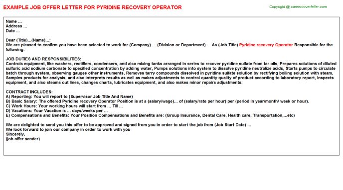 pyridine recovery operator offer letter template
