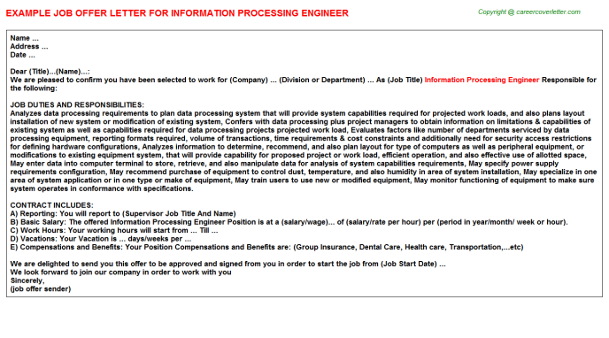 Information Processing Engineer Offer Letter Template
