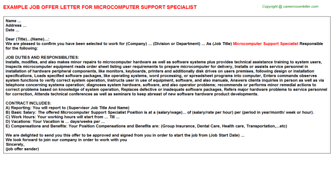 Microcomputer support specialist job offer letter (#669)