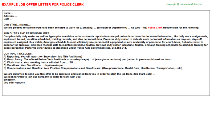 police clerk offer letter template