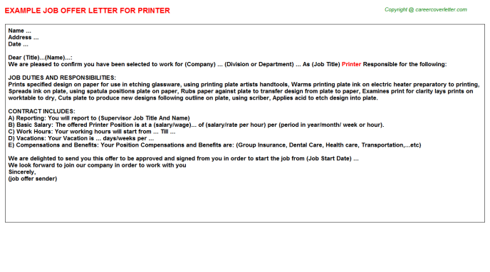 Printer Offer Letter Template