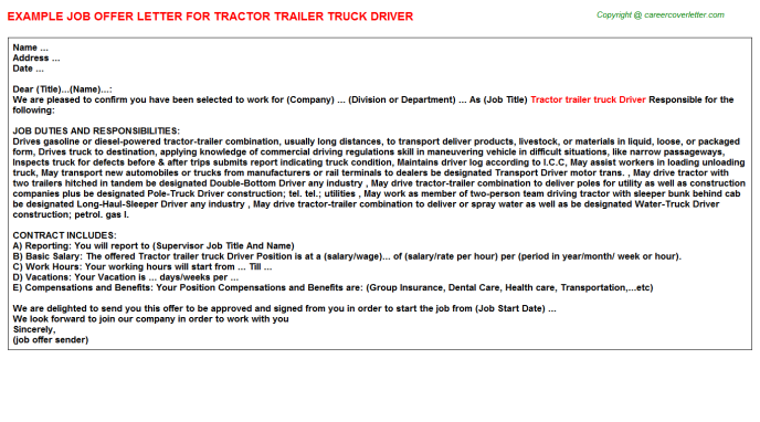 Tractor trailer truck Driver Offer Letter Template