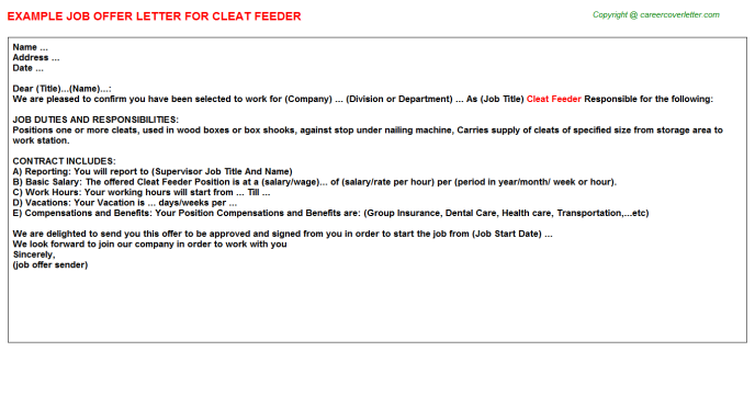 Cleat Feeder Offer Letter Template