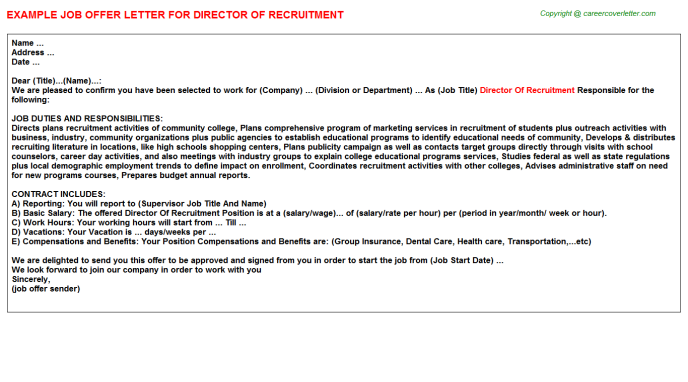 director of recruitment offer letter template