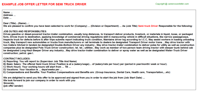 semi truck driver job offer letter