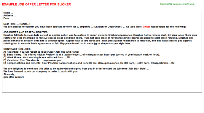 Slicker Job Offer Letter Template