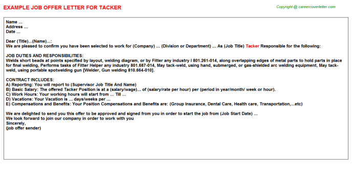 Tacker Job Offer Letter Template