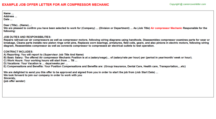 Air compressor mechanic job offer letter (#12673)