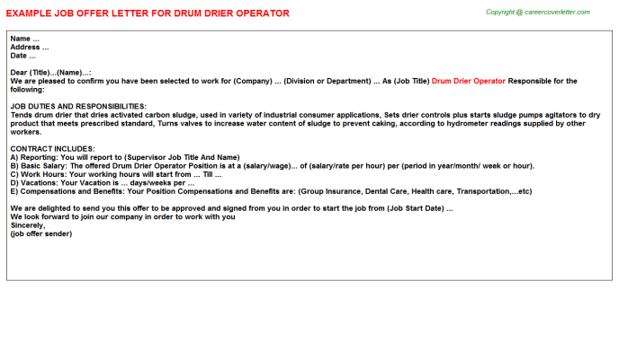 Drum Drier Operator Job Offer Letter Template