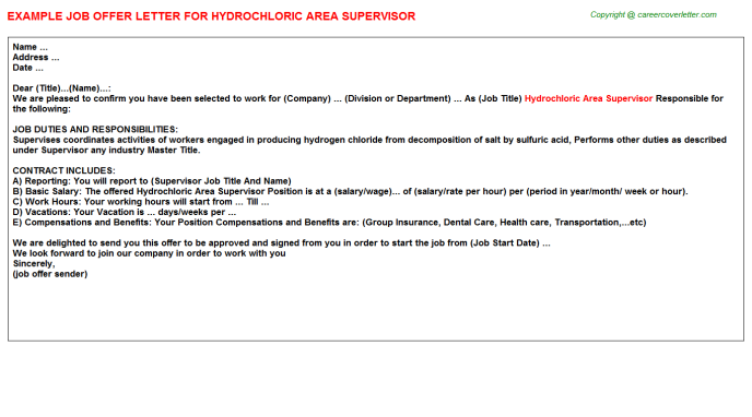 hydrochloric area supervisor offer letter template