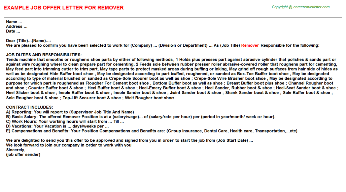 Remover Offer Letter Template