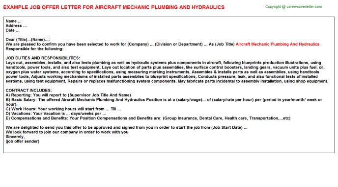 Aircraft mechanic plumbing and hydraulics job offer letter (#19676)