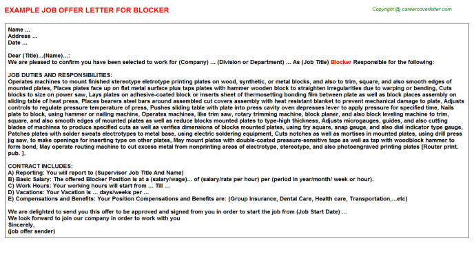 Blocker Job Offer Letter Template