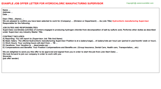 hydrochloric manufacturing supervisor offer letter template