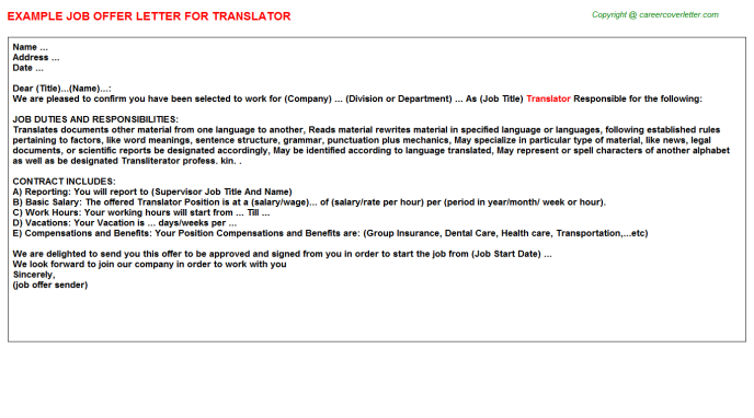 Translator Job Offer Letter Template