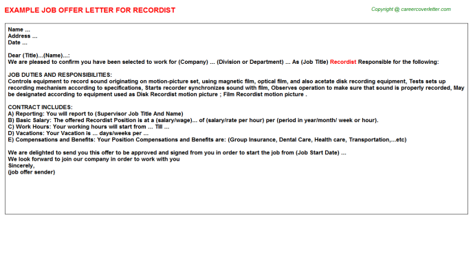 Recordist Offer Letter Template