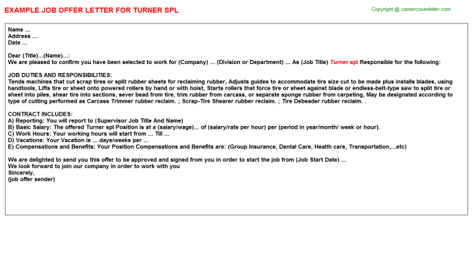 Turner spl Offer Letter Template