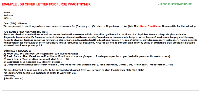 Nurse Practitioner Offer Letter Template