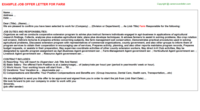 Farm Offer Letter Template