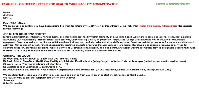 health care facility administrator offer letter template