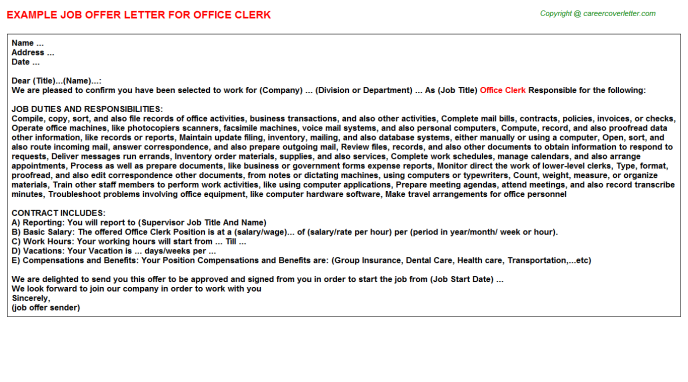 Office Clerk Offer Letter Template