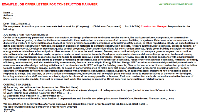Construction Manager Offer Letter Template