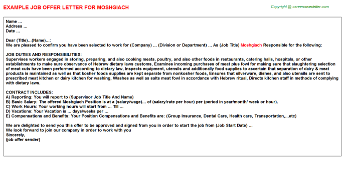 Moshgiach Job Offer Letter Template