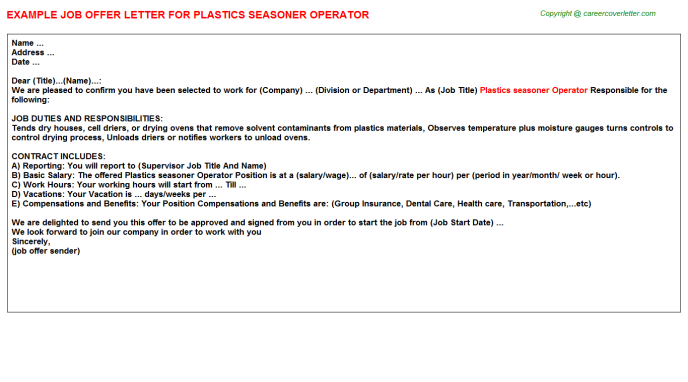 plastics seasoner operator offer letter template