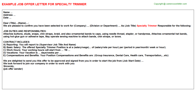Specialty Trimmer Job Offer Letter Template