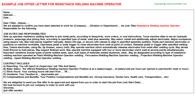 Resistance Welding Machine Operator Offer Letter Template