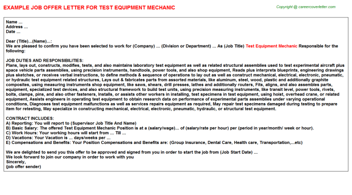 Test equipment mechanic job offer letter (#15683)