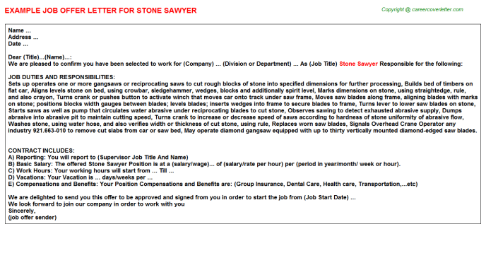 Stone Sawyer Offer Letter Template