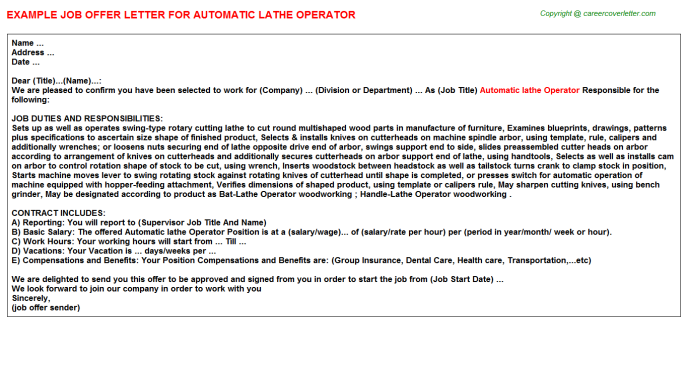 automatic lathe operator offer letter template
