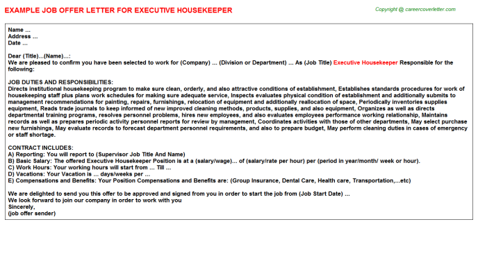 Executive Housekeeper Job Offer Letter