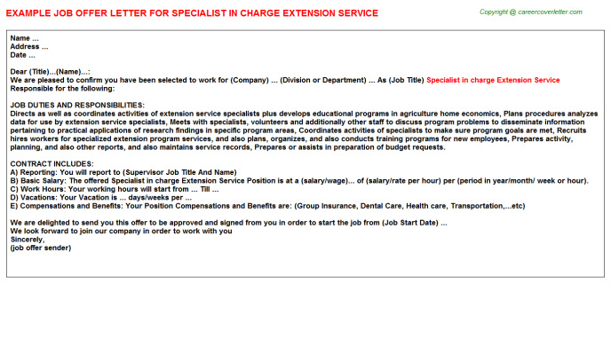 Specialist in charge extension service job offer letter (#1190)