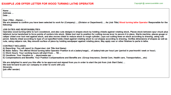 wood turning lathe operator offer letter template
