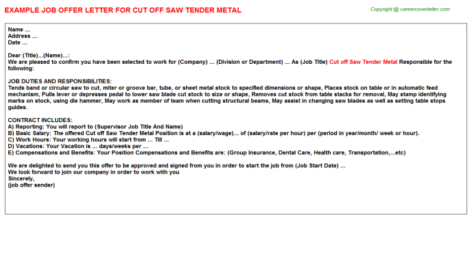Cut off Saw Tender Metal Offer Letter Template