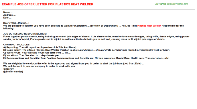 plastics heat welder offer letter template