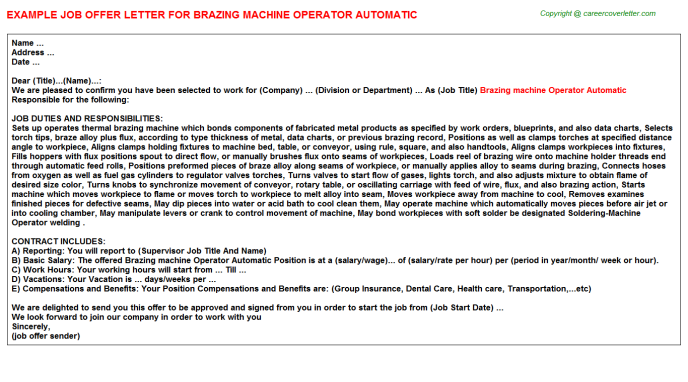 Brazing machine Operator Automatic Offer Letter Template