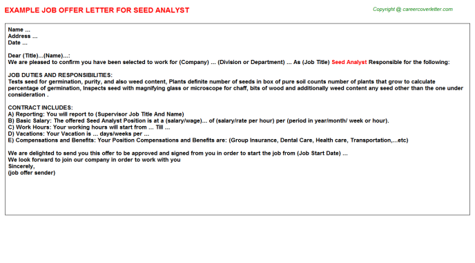 Seed Analyst Offer Letter Template
