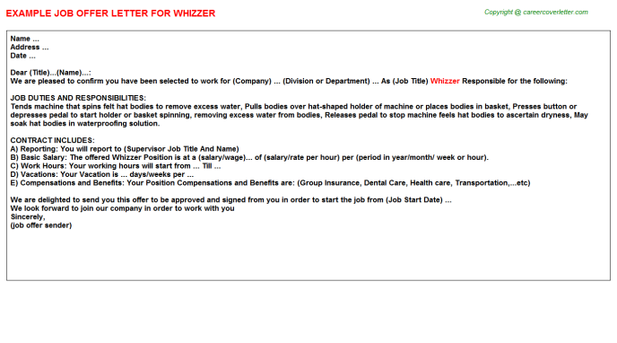 Whizzer Offer Letter Template