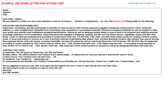 Kitchen Chef Offer Letters on simple letter example marketing, simple application form template, simple job contract template, simple job background check template, simple termination letter template, simple business letter template, simple job application template, formal thank you template, simple job resume template, simple letter of resignation template,