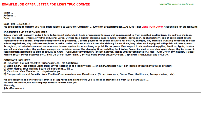 Light Truck Driver Offer Letter Template