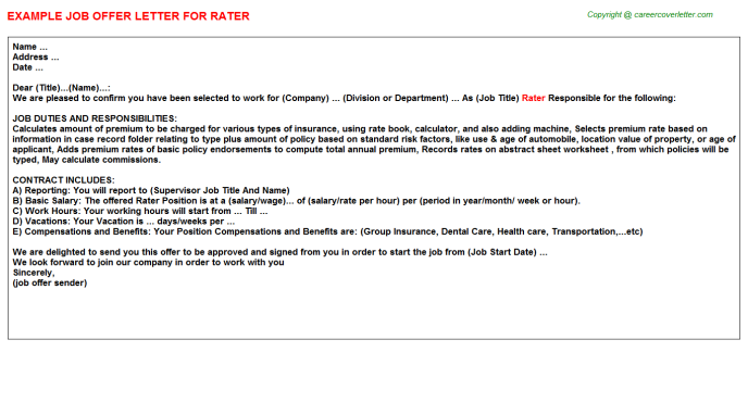 Rater Offer Letter Template