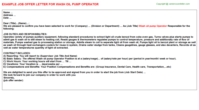 wash oil pump operator offer letter template
