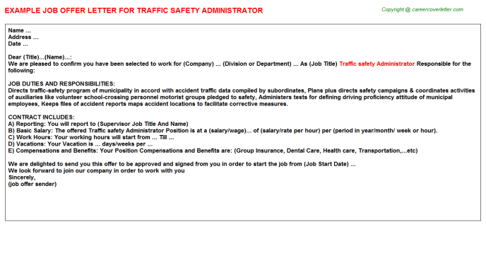 traffic safety administrator offer letter template